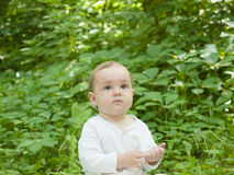 Happy baby crawling in the Park. Royalty Free Stock Image