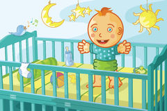 Happy baby in crib Royalty Free Stock Photos