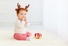 Happy baby deer playing with toy at home Stock Photos