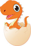 Happy baby dinosaur hatching. Vector illustration of happy baby dinosaur hatching  on white Royalty Free Stock Image