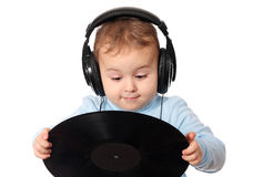 Happy baby dj with music disk Stock Photo