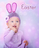 Happy baby on Easter Stock Image