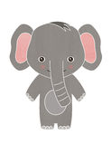 Happy baby elephant cartoon. Illustration of a cute smiling baby elephant for kids Stock Images