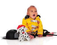 Happy Baby Fireman Stock Photography