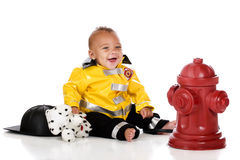 Happy Baby Fireman Royalty Free Stock Image