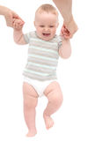 Happy baby first steps Stock Photo