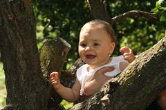 Happy baby in the forest Royalty Free Stock Image