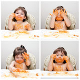 Happy Baby Funny Messy Eater Royalty Free Stock Image