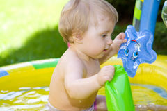 Happy baby in garden Stock Photos