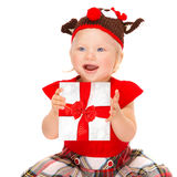 Happy baby with gift box Royalty Free Stock Photos