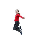 Happy baby girl jumping Stock Images