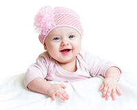 Happy baby girl. Lying on tummy Stock Images