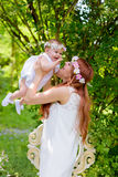 Happy Baby girl and mother portrait royalty free stock photography