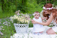 Happy Baby girl and mother portrait stock photo