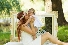 Happy Baby girl and mother portrait stock images