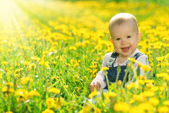 Free Happy Baby Girl On Meadow With Yellow Flowers On The Nature Stock Photo - 31642560