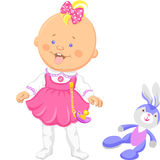 Vector cute baby girl learning to walk. Happy baby girl in a pink dress learning to walk Stock Photos