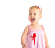 Happy baby girl with red heart isolated Royalty Free Stock Photography