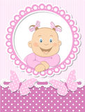 Happy baby girl scrapbook pink frame stock illustration
