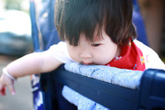 Happy baby girl in Stroller Royalty Free Stock Image