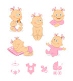 Happy baby girl vector set Royalty Free Stock Photography