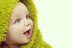 Happy Baby In Green Blanket Royalty Free Stock Images