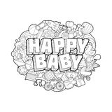 Happy Baby - Hand Lettering and Doodles Elements Sketch Stock Photo