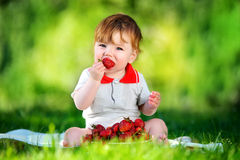 Happy baby have fun in the Park on a Sunny meadow with strawberr Stock Image