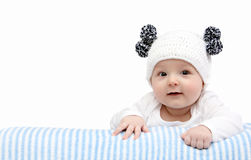 Happy baby in knitted hat Royalty Free Stock Image
