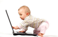 Happy baby with laptop #13 Stock Photos
