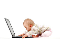 Happy baby with laptop #13 Stock Images