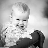 Happy baby laughing and smiling monochrome Stock Images