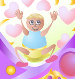 Happy baby with love icon. Illustration for happy young boy rising his hand with love icon background Stock Photos