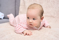 Happy baby lying on his stomach Royalty Free Stock Photo