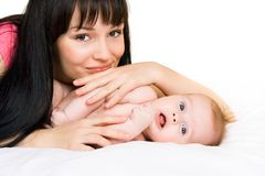 Happy baby with mother Stock Photos