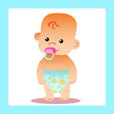 Happy baby with a pacifier in diapers. Stands and smiles vector illustration