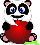Happy Baby Panda With Heart Stock Photos