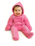 Happy baby in pink Royalty Free Stock Photos