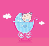 Happy baby in pram Royalty Free Stock Photography