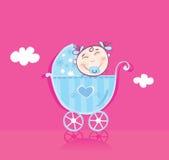 Happy baby in pram Royalty Free Stock Photography