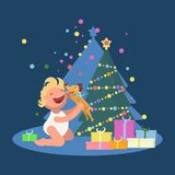 Happy baby with a puppy gift vector illustration