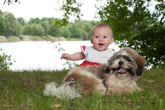 Happy baby and puppy near the lake. Baby and puppy are playing near the lake royalty free stock images