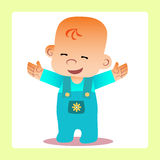 Happy baby revealed handle wants to cuddle. Childhood and motherhood royalty free illustration