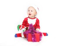 Happy baby santa with gift box Royalty Free Stock Photo