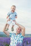 Happy baby son with dad Royalty Free Stock Photos