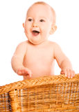 Happy baby stands Royalty Free Stock Photos