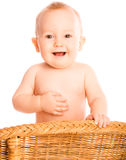 Happy baby strokes stomach Stock Photos