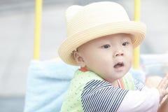 Happy baby in stroller Stock Photos