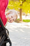 Happy baby in a stroller Stock Photo