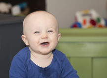 Happy Baby Teething and Drooling Royalty Free Stock Photography
